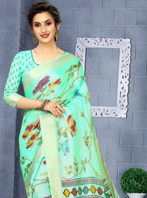 Sea Green Linen Festival Casual Saree