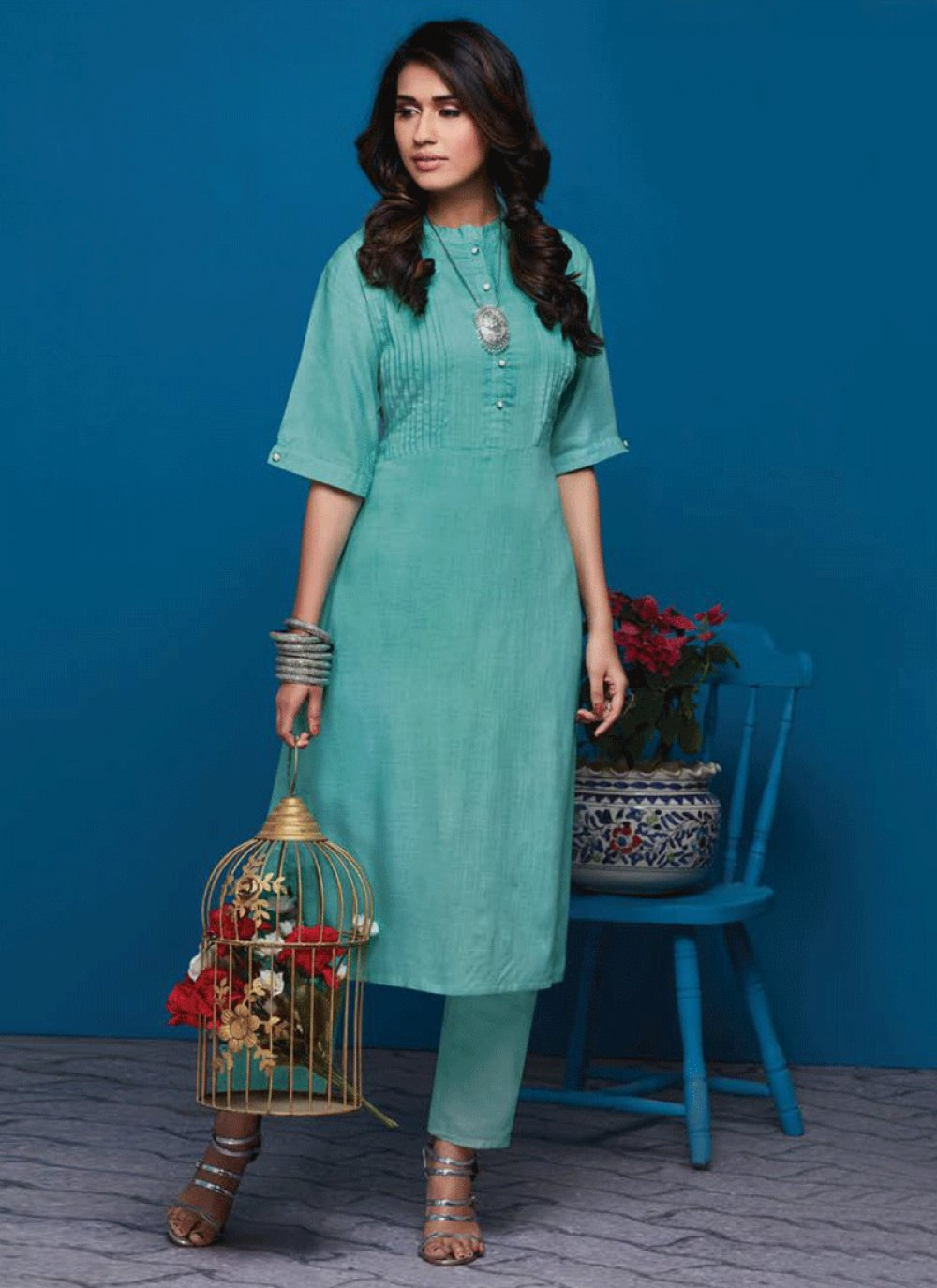 Sea Green Party Party Wear Kurti