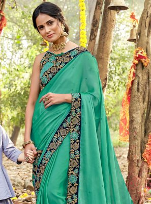 Sea Green Party Silk Saree