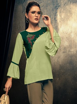 Sea Green Party Wear Kurti