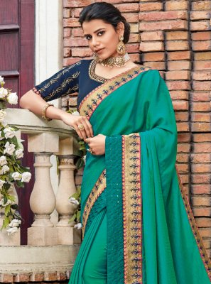 Sea Green Patch Border Georgette Satin Classic Saree