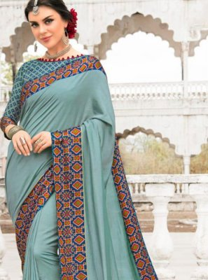 Sea Green Patch Border Silk Saree