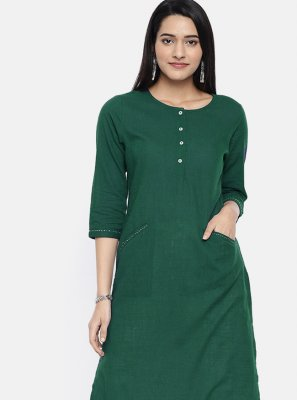 Sea Green Plain Party Wear Kurti