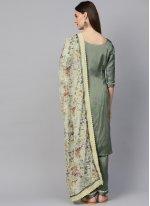 Sea Green Plain Silk Pant Style Suit