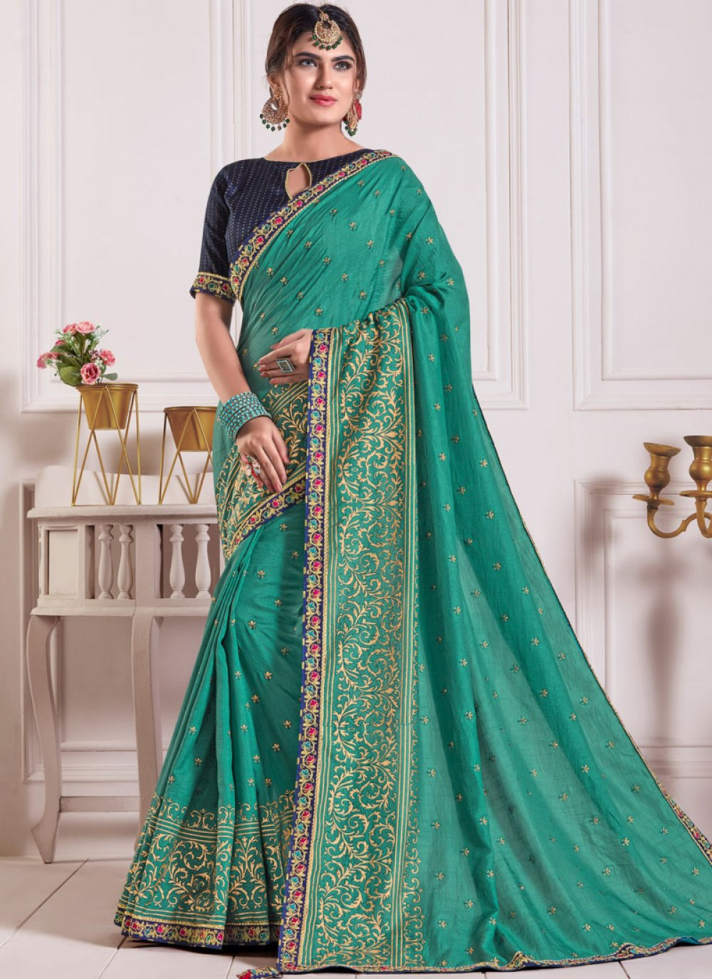 Sea Green Poly Silk Classic Saree