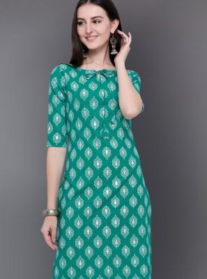 Sea Green Print Casual Kurti