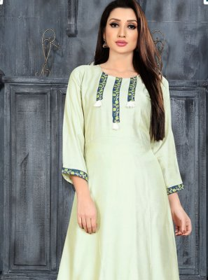Sea Green Rayon Casual Kurti