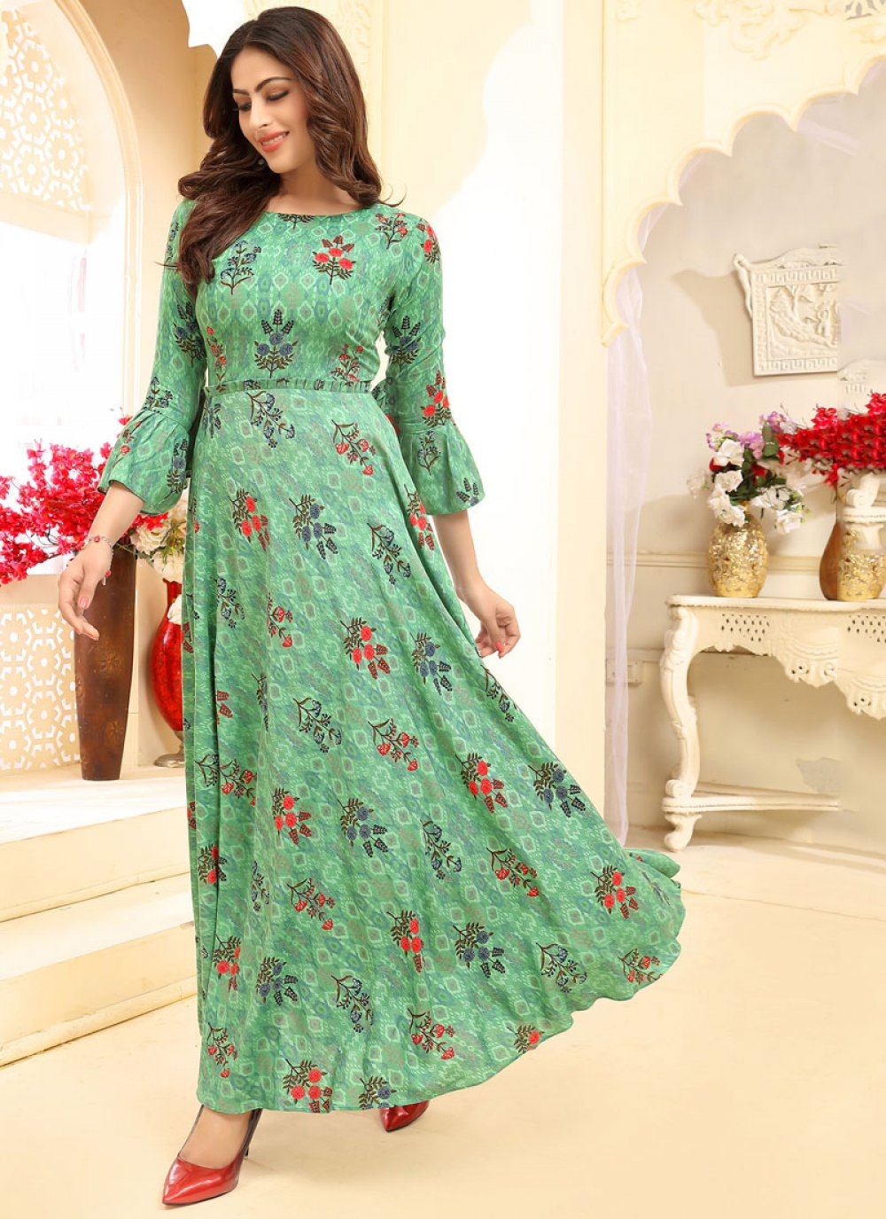 Sea Green Rayon Trendy Gown