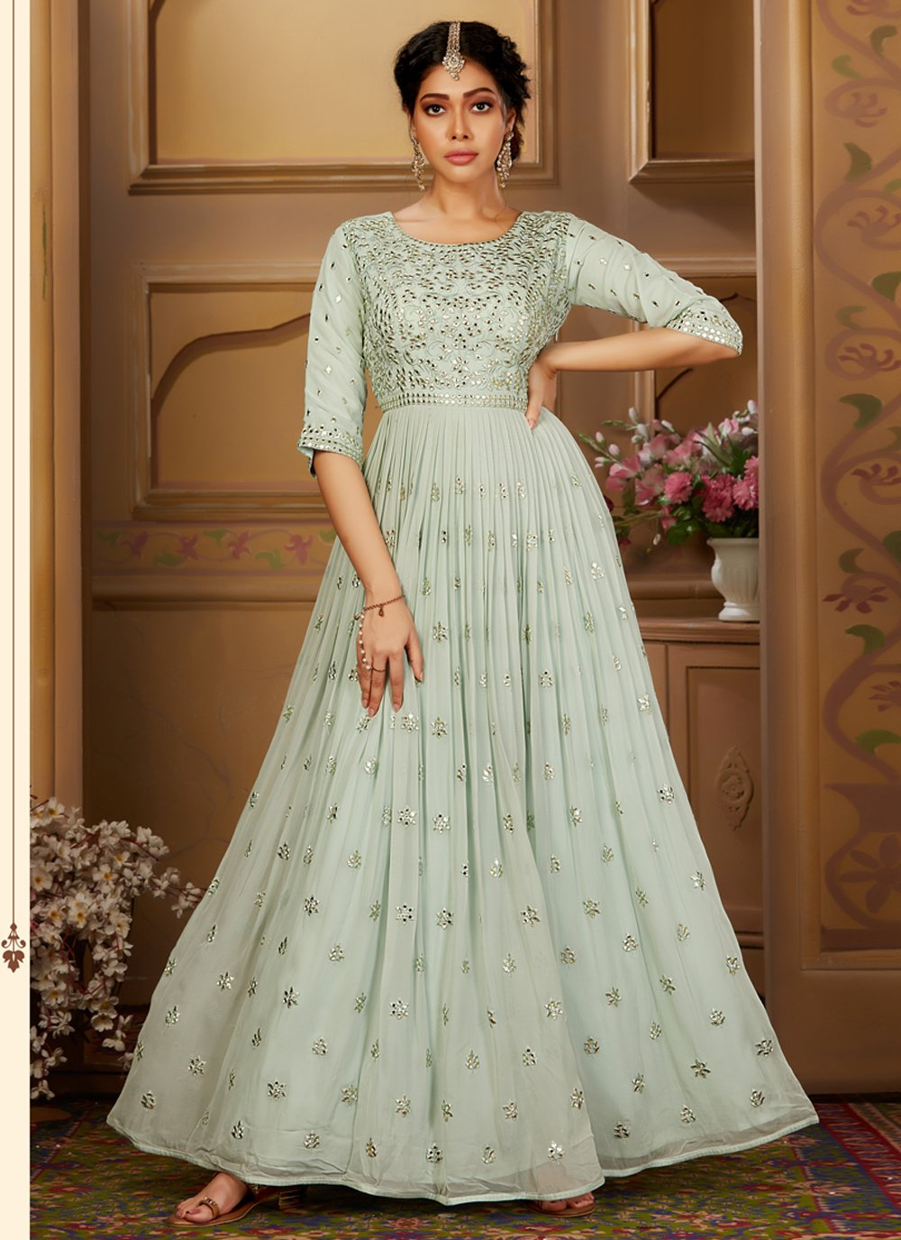 Sea Green Readymade Anarkali Salwar Suit