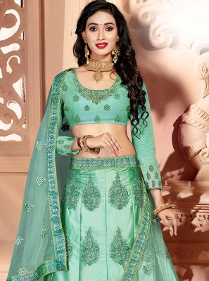 Sea Green Reception Art Silk A Line Lehenga Choli