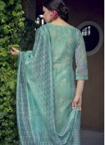 Sea Green Resham Designer Salwar Kameez