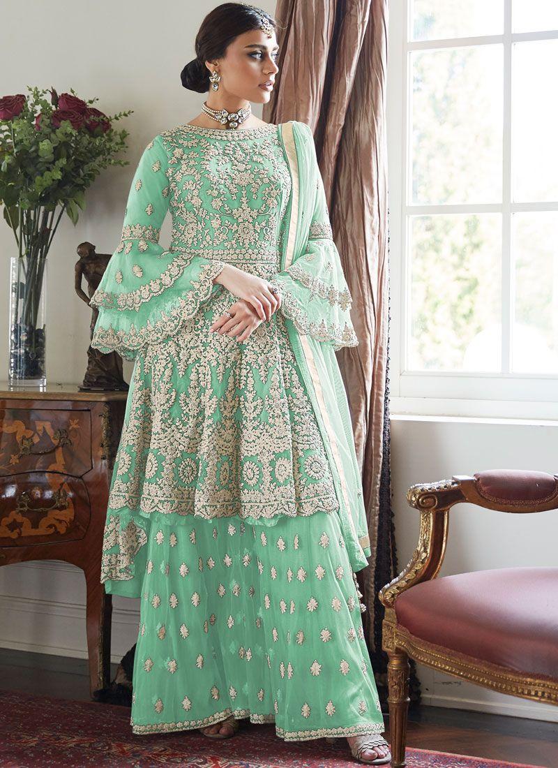 Sea Green Resham Net Designer Palazzo Salwar Kameez