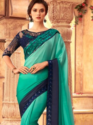 Sea Green Resham Shaded Saree