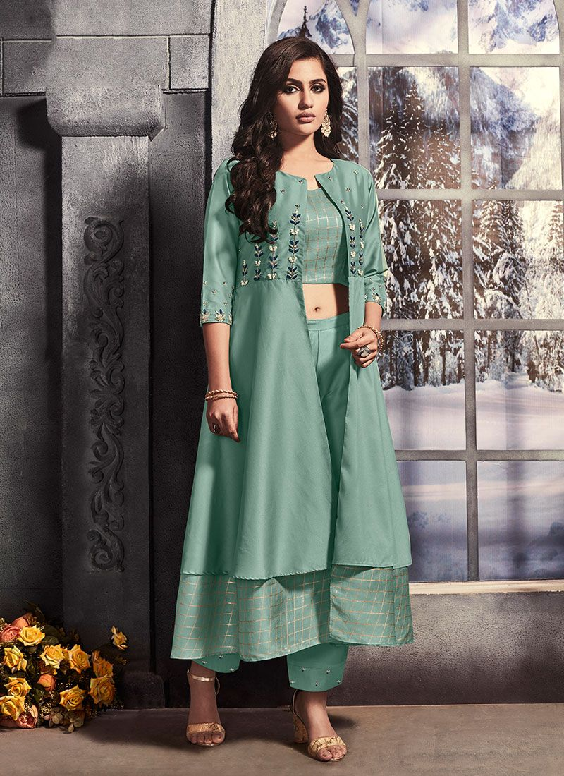 Sea Green Satin Pant Style Suit