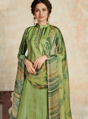 Sea Green Swarovski Trendy Palazzo Salwar Suit