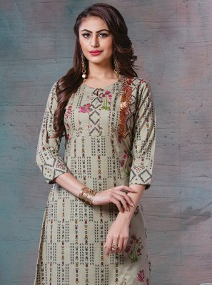 Sea Green Thread Work Designer Kurti
