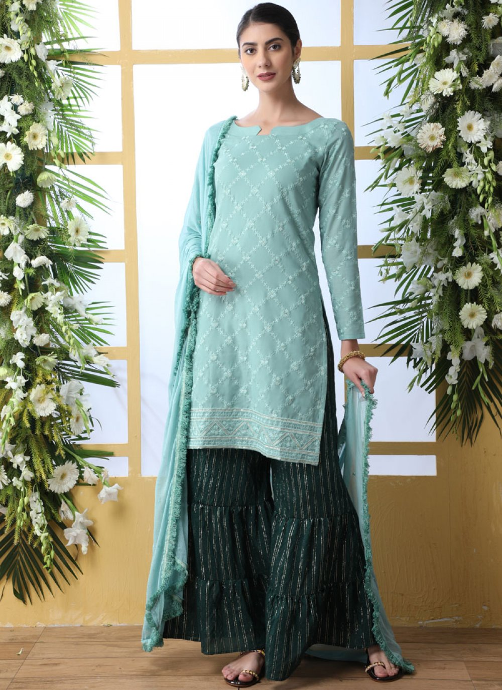 Sea Green Thread Work Designer Palazzo Suit
