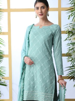 Sea Green Thread Work Designer Palazzo Suit