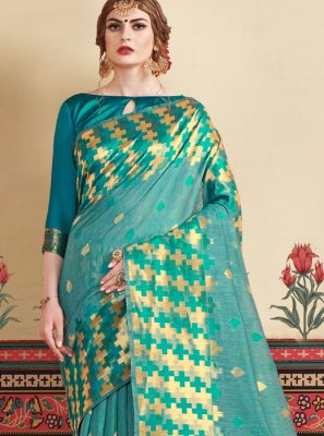 Sea Green Weaving Casual Saree