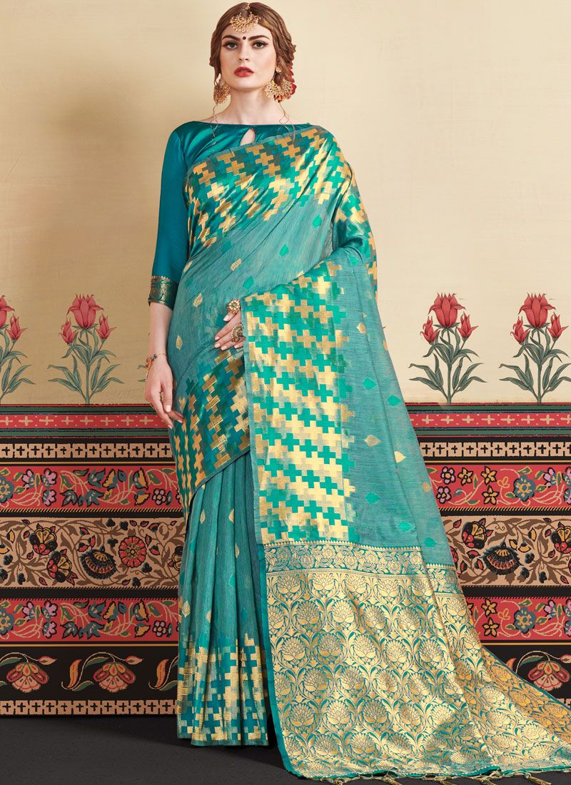 Sea Green Weaving Casual Saree