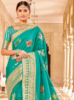 Sea Green Weaving Classic Saree