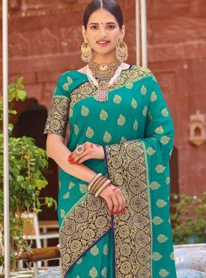 Sea Green Weaving Silk Designer Saree