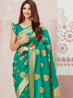 Sea Green Weaving Silk Traditional Saree