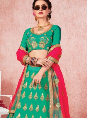 Sea Green Zari Trendy A Line Lehenga Choli