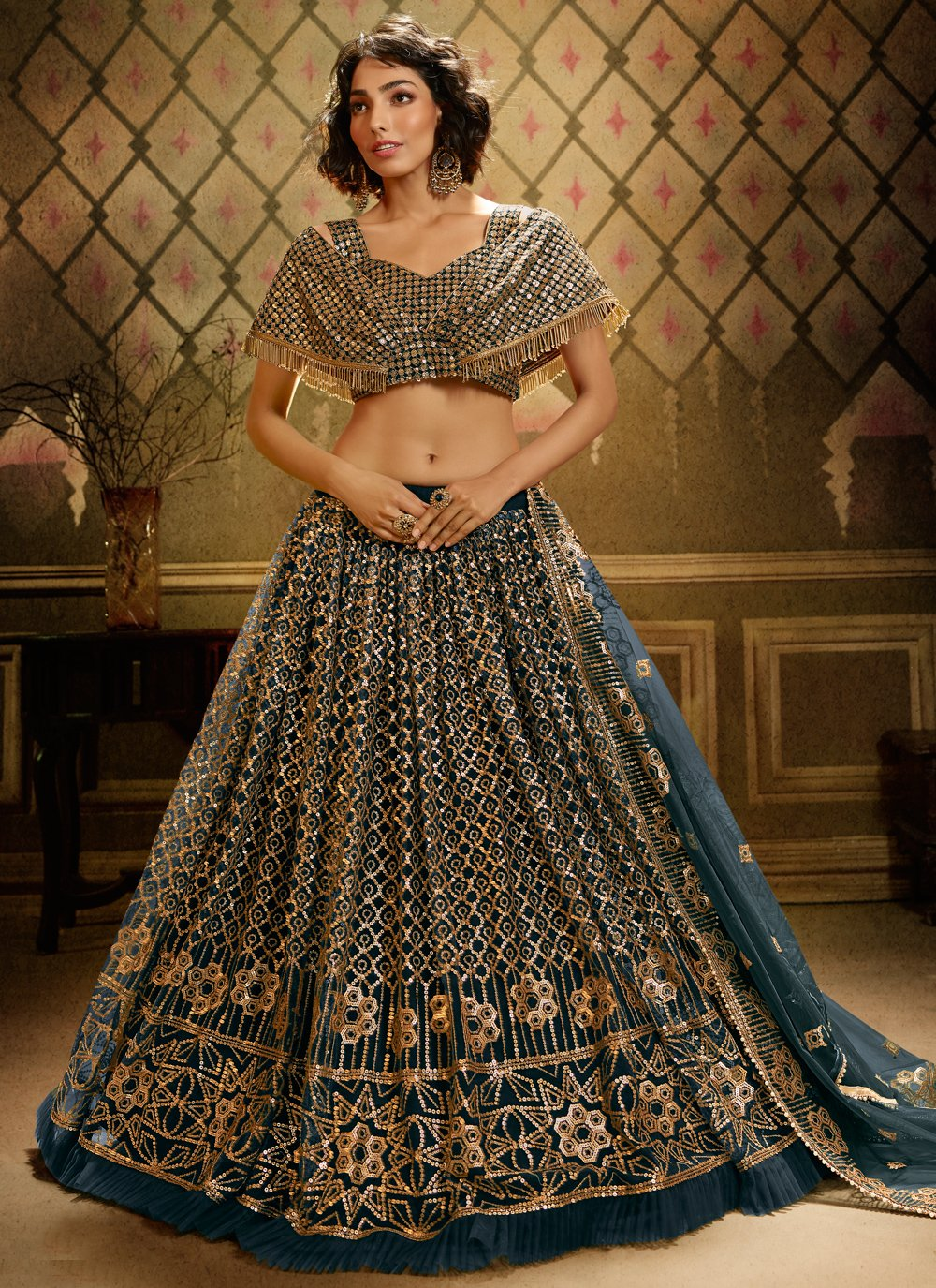 Sequins Grey Bollywood Lehenga Choli