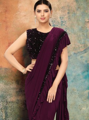 Sequins Lycra Traditional Designer Saree in Purple