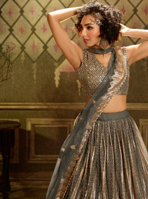 Sequins Net A Line Lehenga Choli in Grey