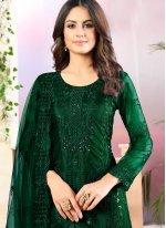 Sequins Net Salwar Suit in Green