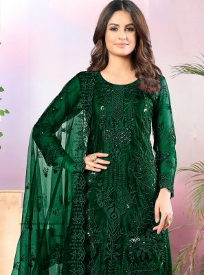 Sequins Net Salwar Suit in Green
