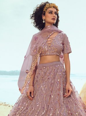 Sequins Net Trendy Lehenga Choli in Pink