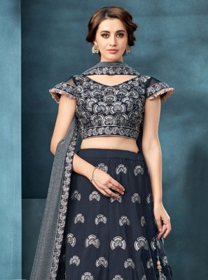 Sequins Tafeta Silk A Line Lehenga Choli in Blue
