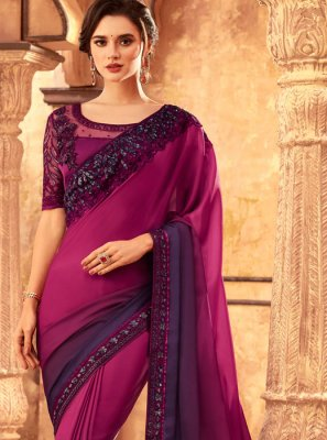 Shaded Saree Resham Art Silk in Magenta