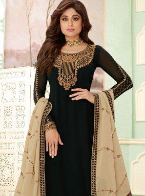 Shamita Shetty Black Trendy Palazzo Salwar Kameez