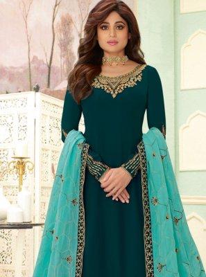 Shamita Shetty Embroidered Teal Faux Georgette Designer Salwar Kameez
