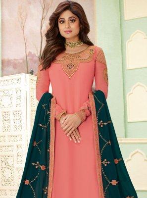 Shamita Shetty Pink Embroidered Palazzo Salwar Suit