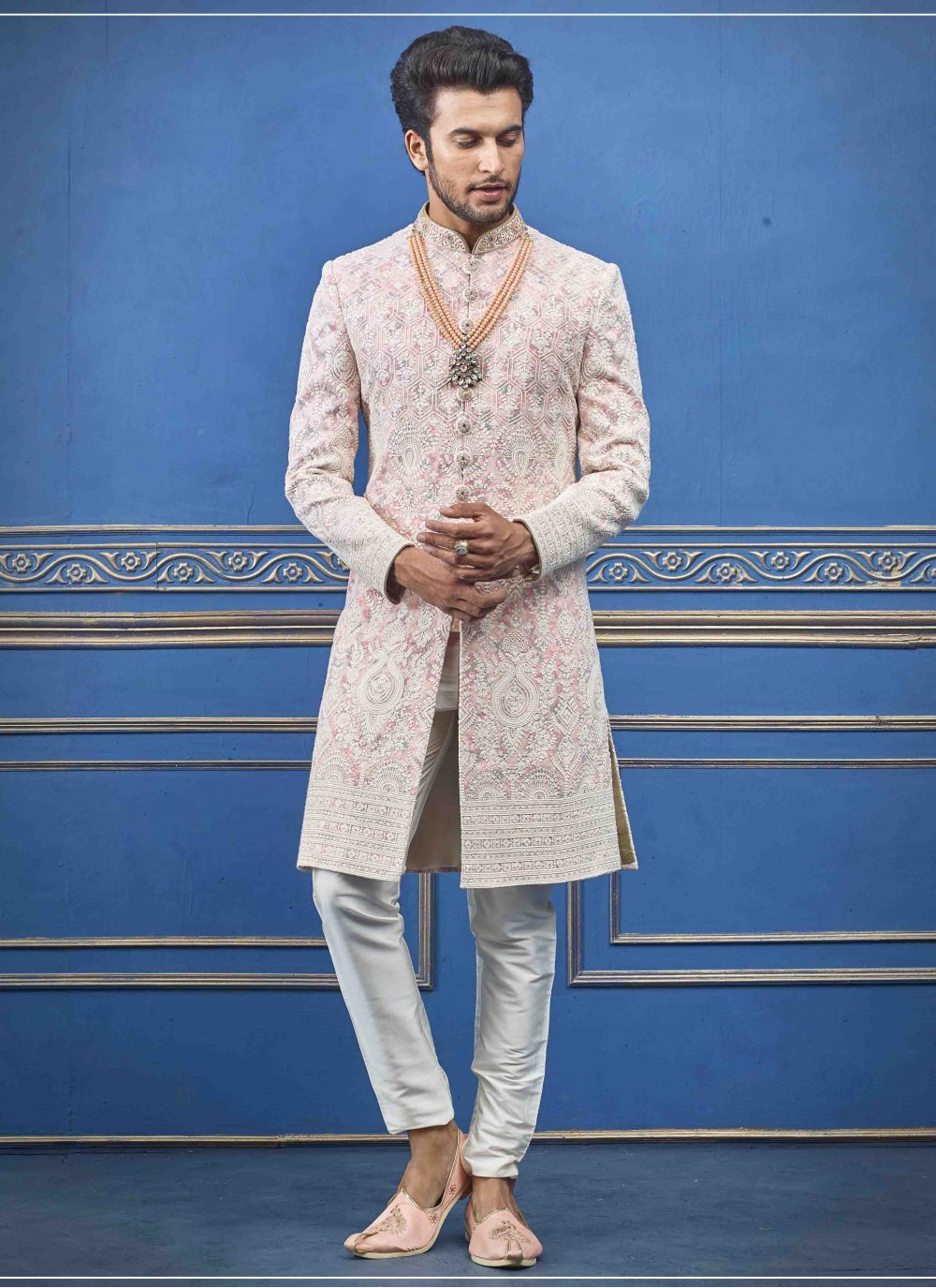 Sherwani Embroidered Pure Silk in Pink