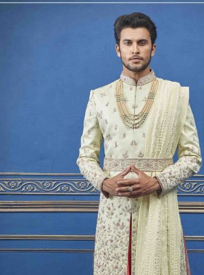 Sherwani Embroidered Pure Silk in Yellow