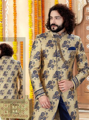 Sherwani Printed Jacquard in Gold