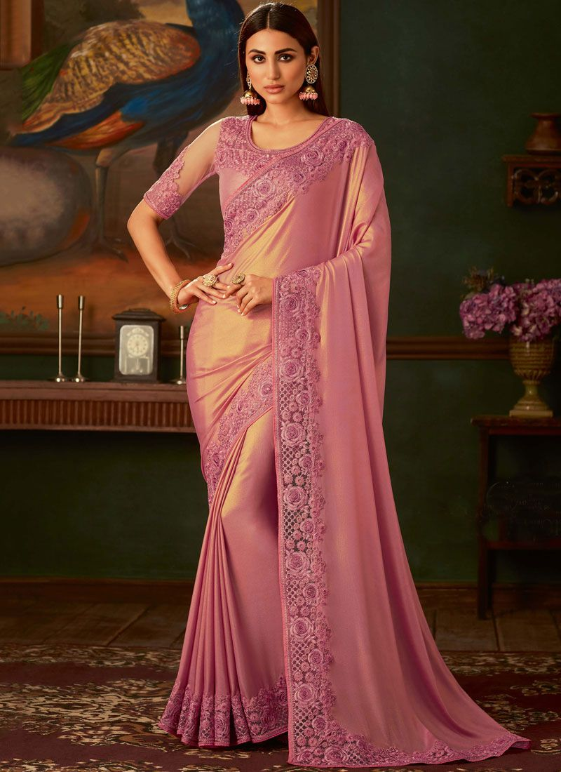 Shimmer Georgette Trendy Saree in Pink
