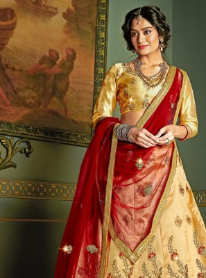 Silk A Line Lehenga Choli in Beige