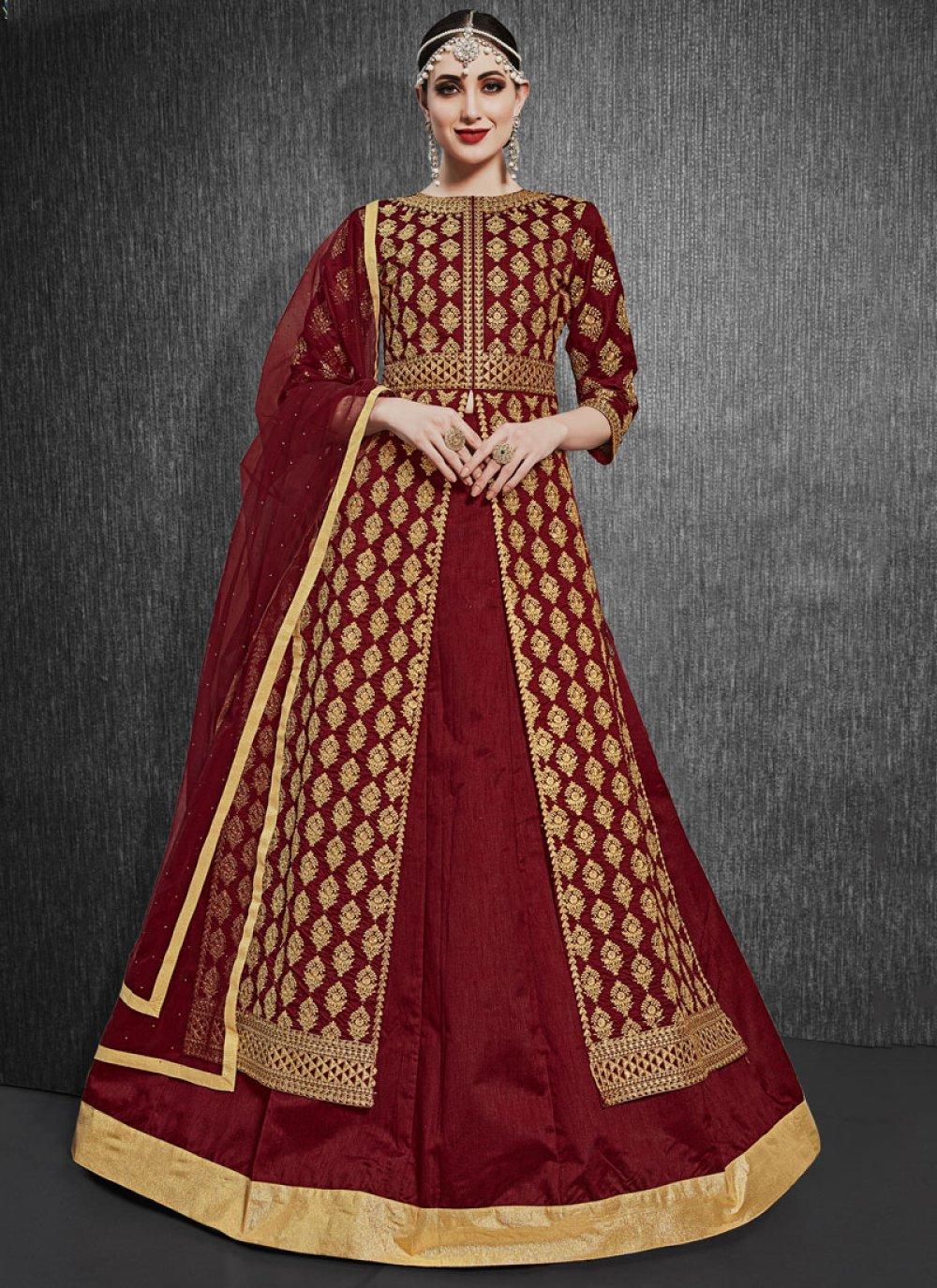 Silk A Line Lehenga Choli in Maroon