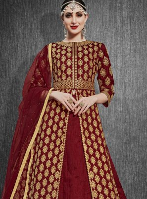 Silk A Line Lehenga Choli in Maroon