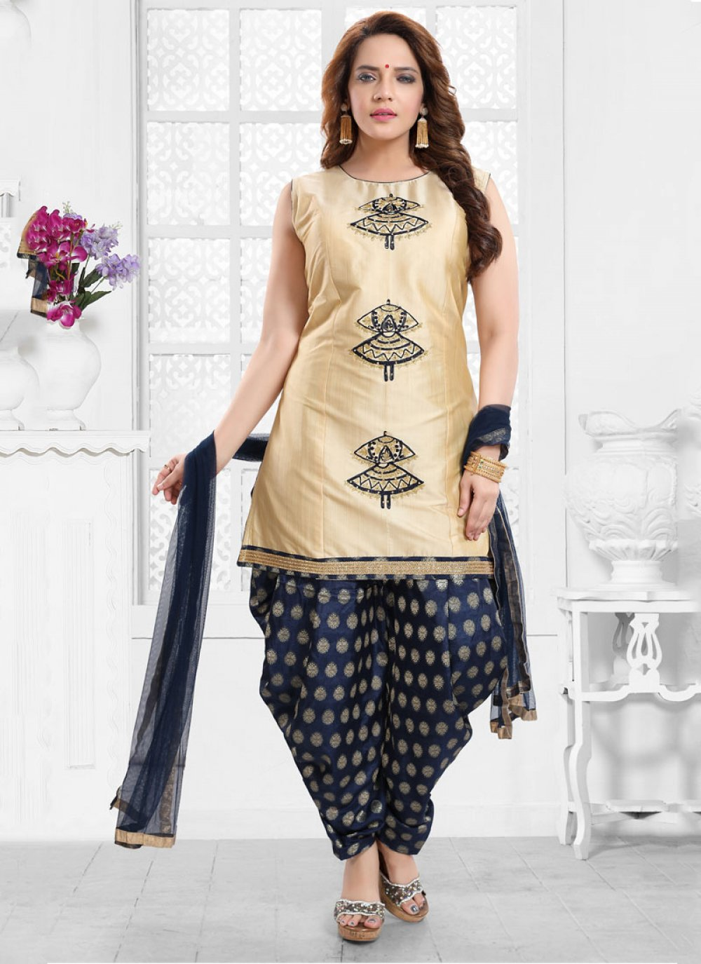 Silk Aariwork Designer Salwar Suit in Gold