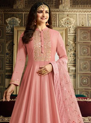 Silk Anarkali Salwar Kameez in Pink