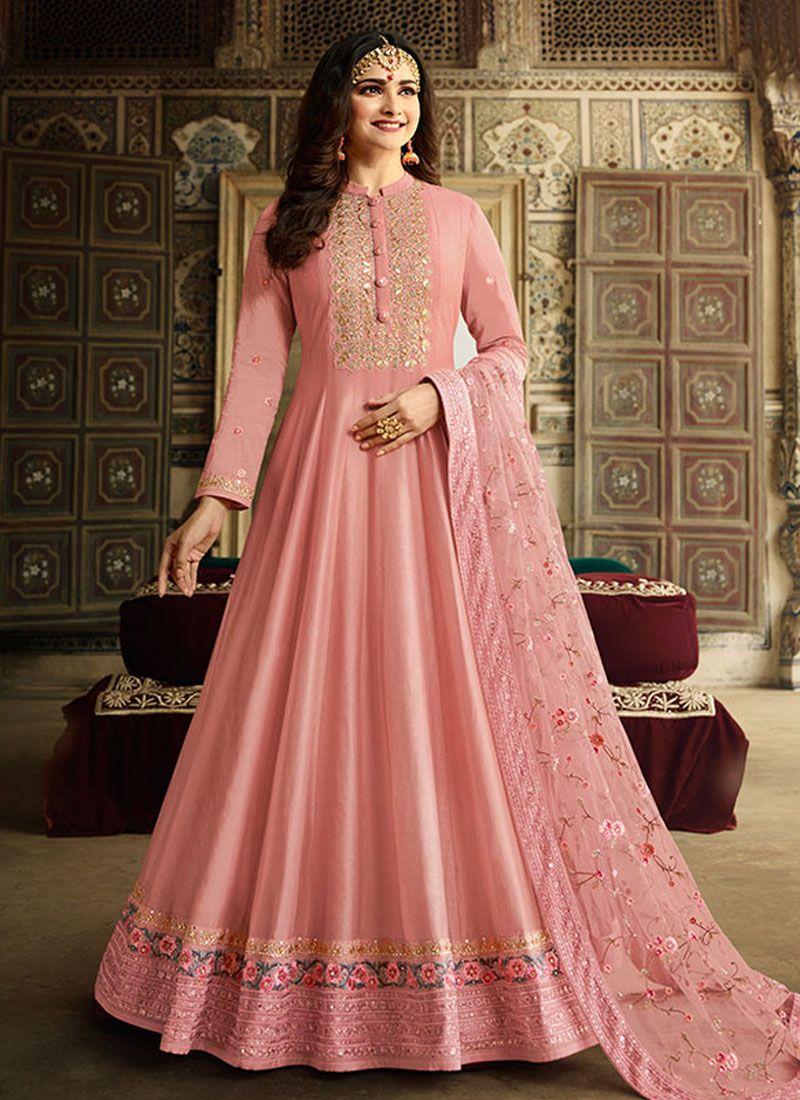 Silk Anarkali Salwar Kameez in Pink