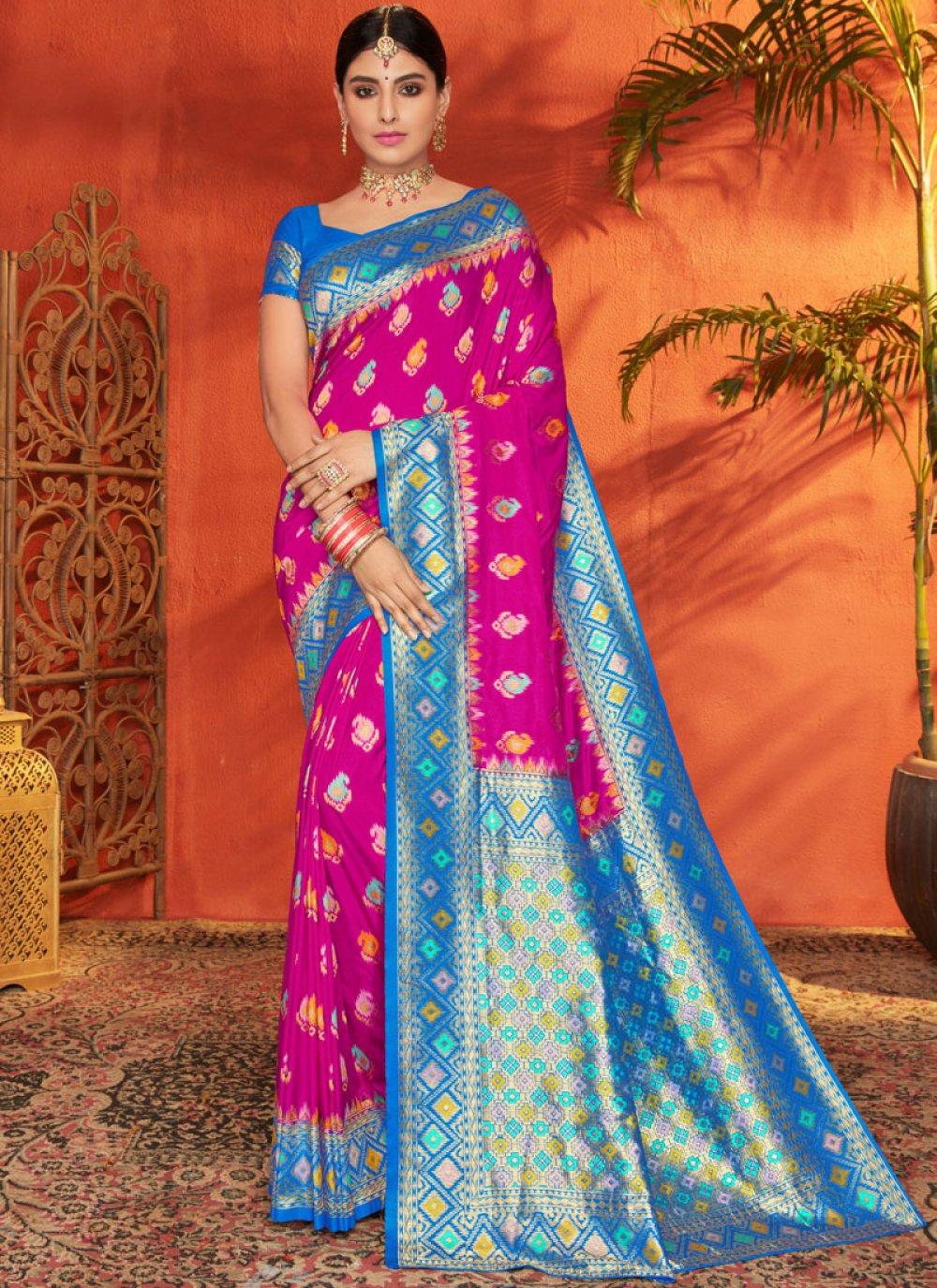 Silk Aqua Blue and Magenta Weaving Traditional Saree